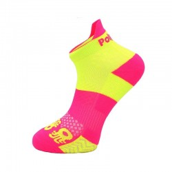 Calcetin padel tobillero amarillo fluor y rosa fucsia