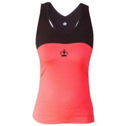 Camiseta padel mujer Coral y negra | Cusco BLACK CROWN