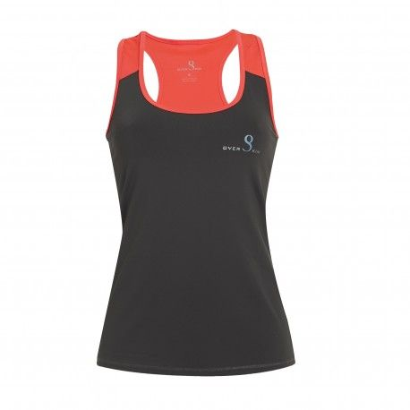 20ed2a69d1fa6 camiseta padel nadadora mujer gris oscura y coral tirantes overskin ...